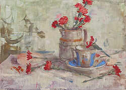 Cadmium Carnations and Blue Cup