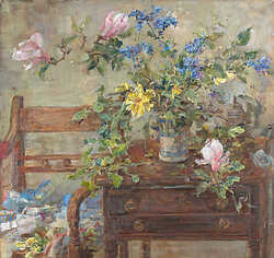Ceanothus and Yellow Rose on Table