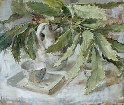 Chestnut Leaves in Small White Vase