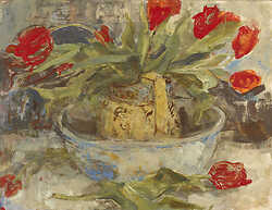 Christines Red Tulips Jug and Bowl
