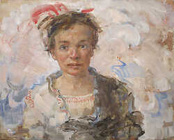 Girl with Red Flutter on Head