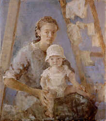 Mother and child against blue