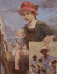 Mother with a red hat