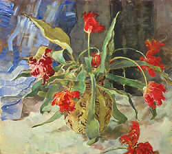 Red tulips with blue curtain