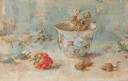 Tea Bowl Acorns and Eggshell