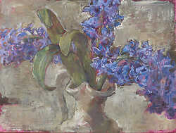 Three Hyacinths on Magenta