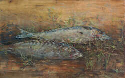 Two Mackerel on Bare Wood